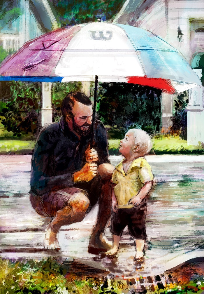 Father and son in the rain digital painting