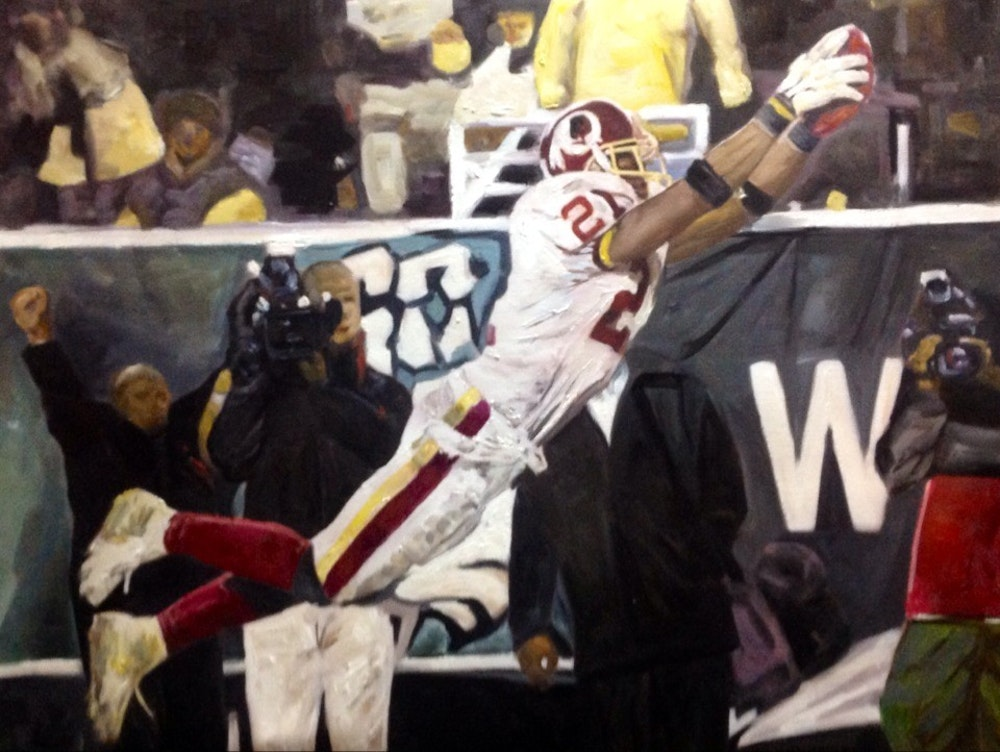 Custom Football Player Oil Painting Artist-Rendered Painting