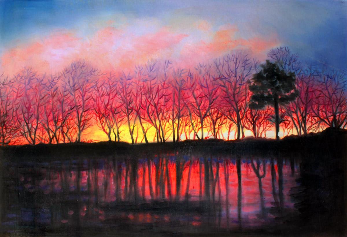 Custom Sunset Landscape Mixed Media Oil Painting