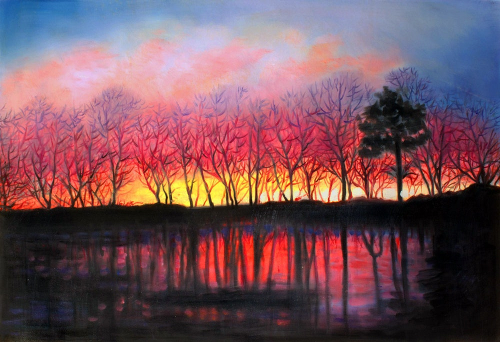 Custom Sunset Landscape Mixed-Media Oil Painting Artist-Rendered Painting