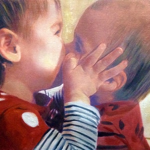 Custom Kissing Babies Mixed-Media Portrait Oil Painting