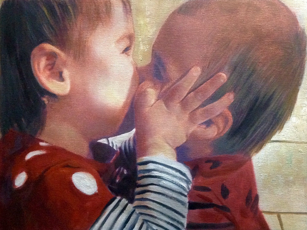 Custom Kissing Babies Mixed-Media Portrait Oil Painting Artist-Rendered Painting
