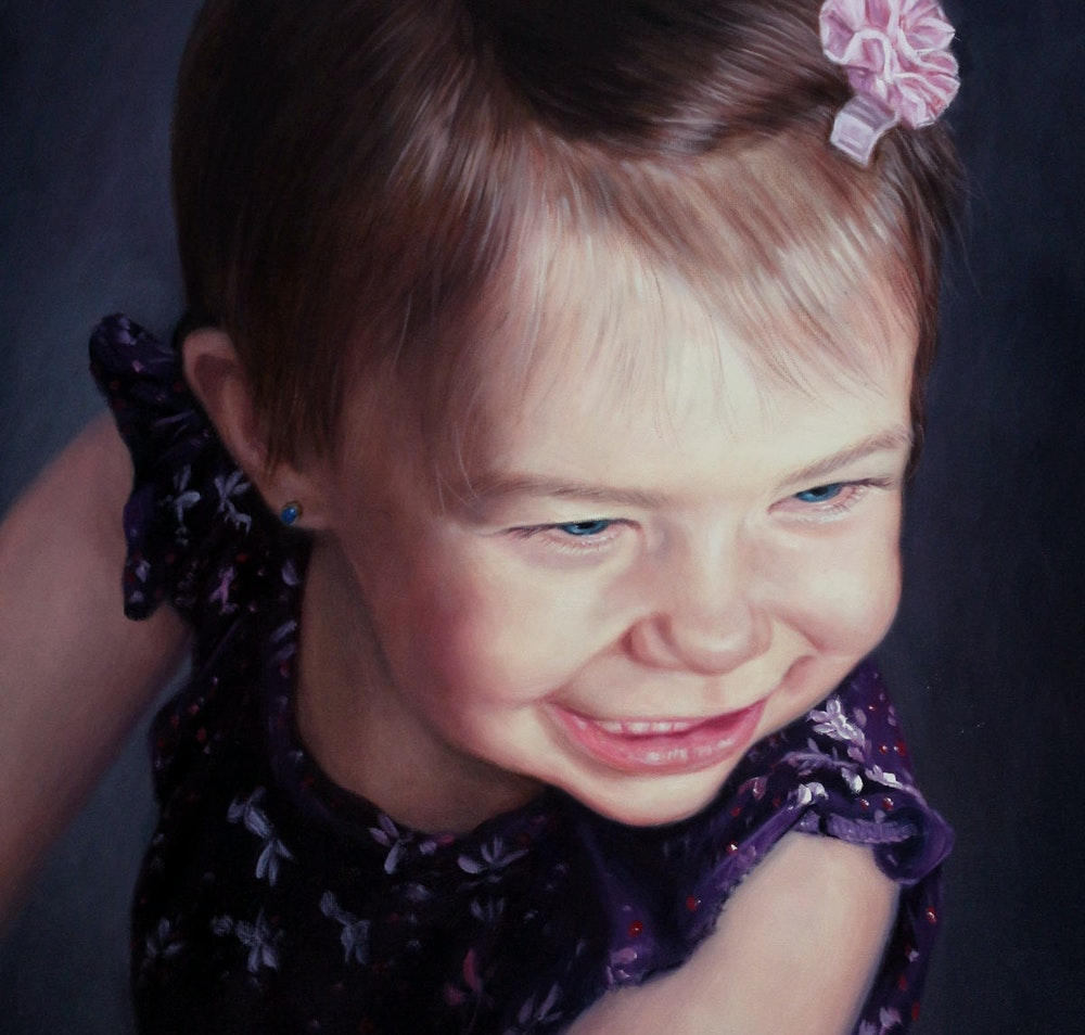 Custom Toddler Portrait Oil Painting Artist-Rendered Painting