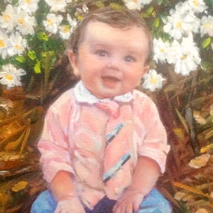 Custom Baby Outside Mixed-Media Portrait Oil Painting