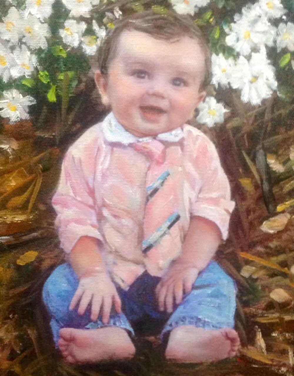 Custom Baby Outside Mixed-Media Portrait Oil Painting Artist-Rendered Painting