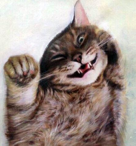 Pet portrait painting of cat on its back