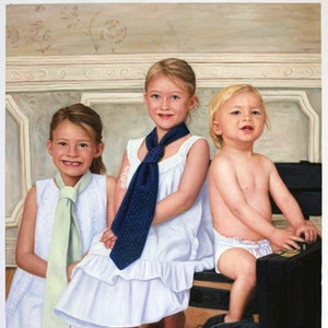 Custom Three Kids Portrait Oil Painting