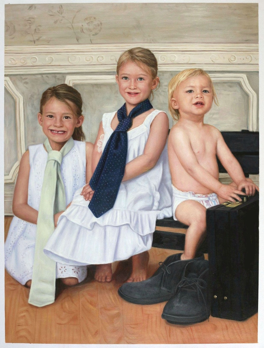 Custom Three Kids Portrait Oil Painting Artist-Rendered Painting