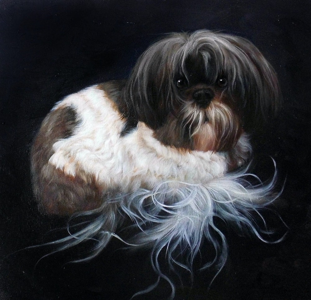 Custom Dog Portrait Painting Artist-Rendered Painting
