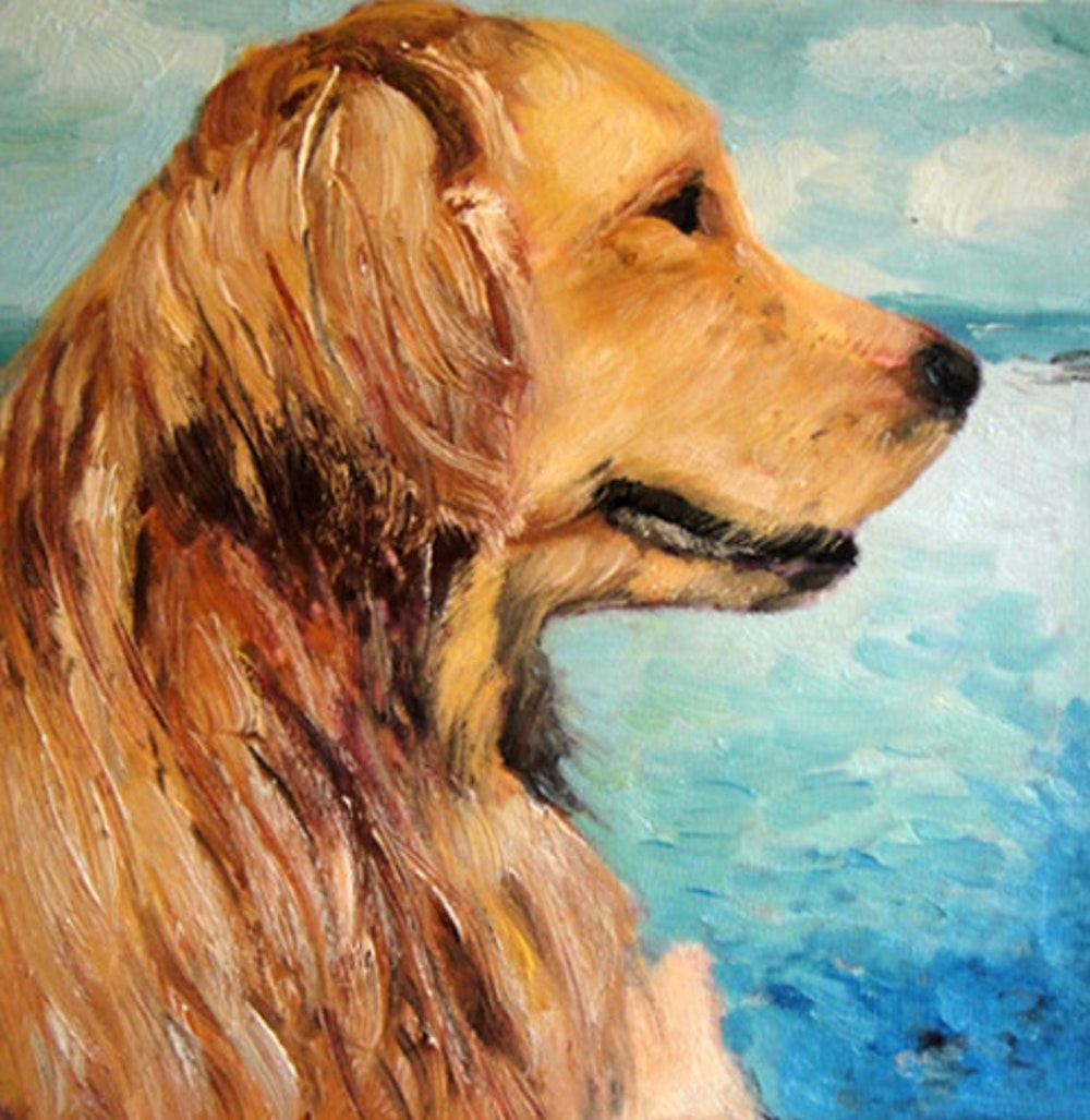 Custom Dog Profile Mixed-Media Oil Painting in Front of Water Artist-Rendered Painting