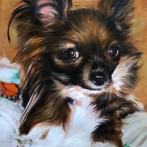 Custom Brown and White Dog Mixed-Media Portrait Oil Painting