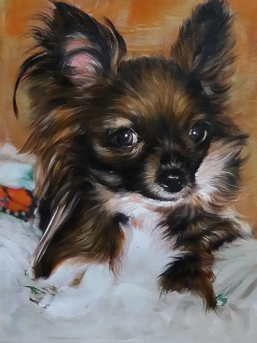 Custom Brown and White Dog Mixed-Media Portrait Oil Painting Artist-Rendered Painting