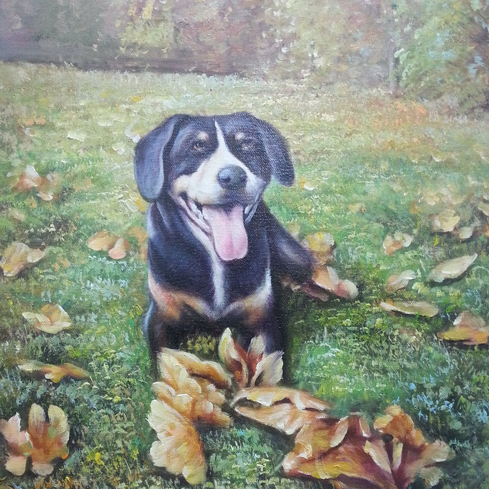 Custom Dog Sitting on Grass Mixed-Media Portrait Oil Painting Artist-Rendered Painting