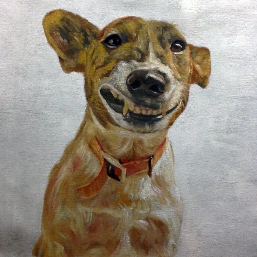 Custom Smiling Dog Mixed-Media Portrait Oil Painting