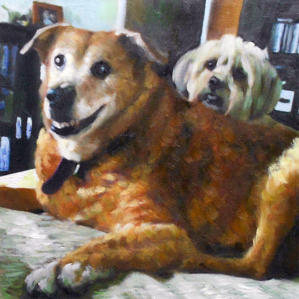 Custom Two Dogs Mixed-Media Oil Painting Artist-Rendered Painting