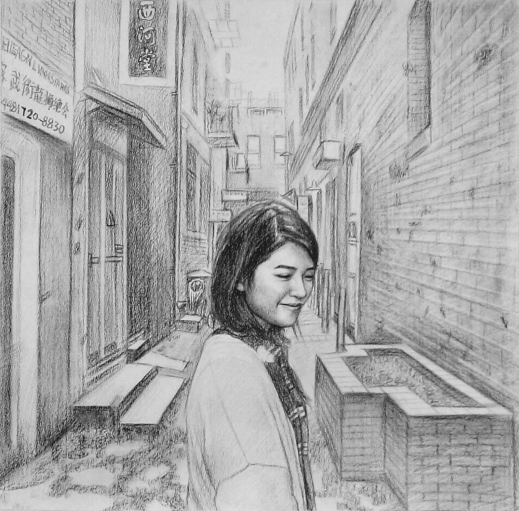 Custom Hand-Drawn Girl in Chinatown Charcoal Drawing
