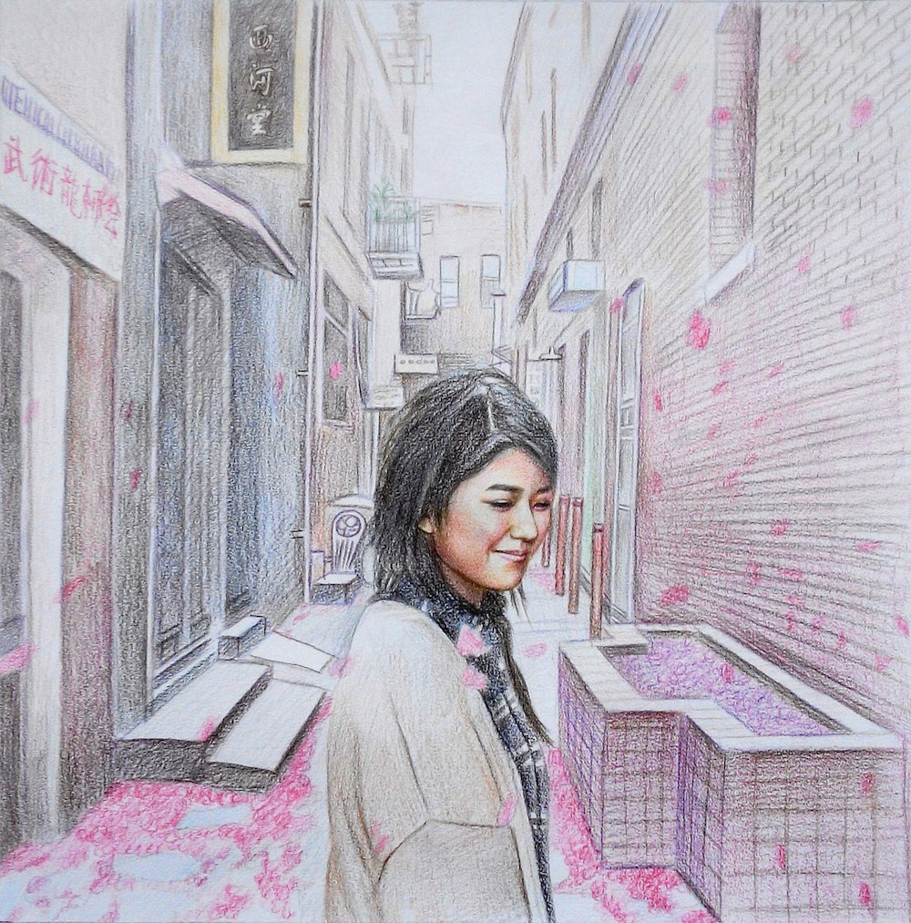 Custom Hand-Drawn Girl in Chinatown Colored Pencil Drawing Artist-Rendered Painting