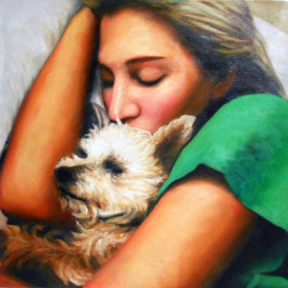 Custom Girl Sleeping With Dog Mixed-Media Oil Painting Artist-Rendered Painting