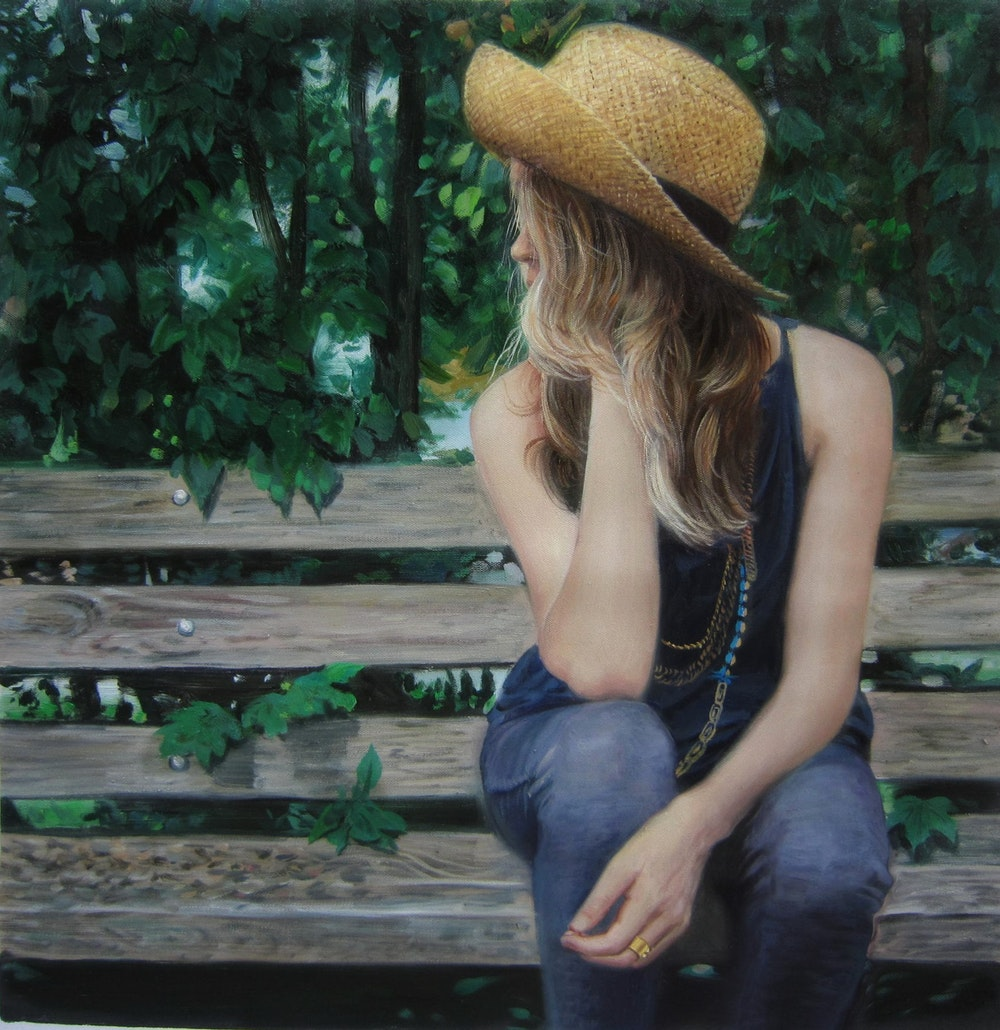 Custom Girl On Bench Oil Painting Artist-Rendered Painting