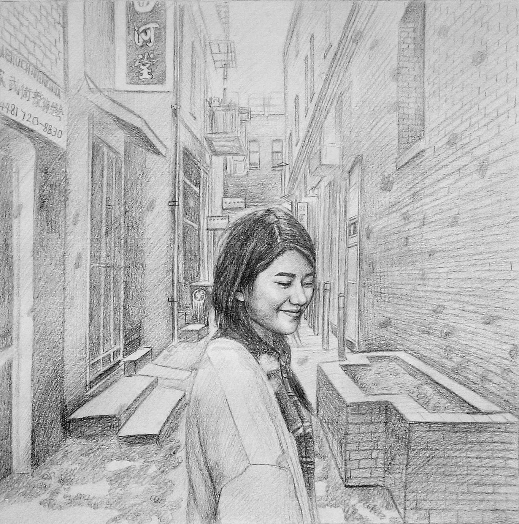 Custom hand drawn girl in chinatown pencil drawing