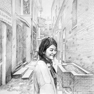 Custom Hand-Drawn Girl in Chinatown Pencil Drawing