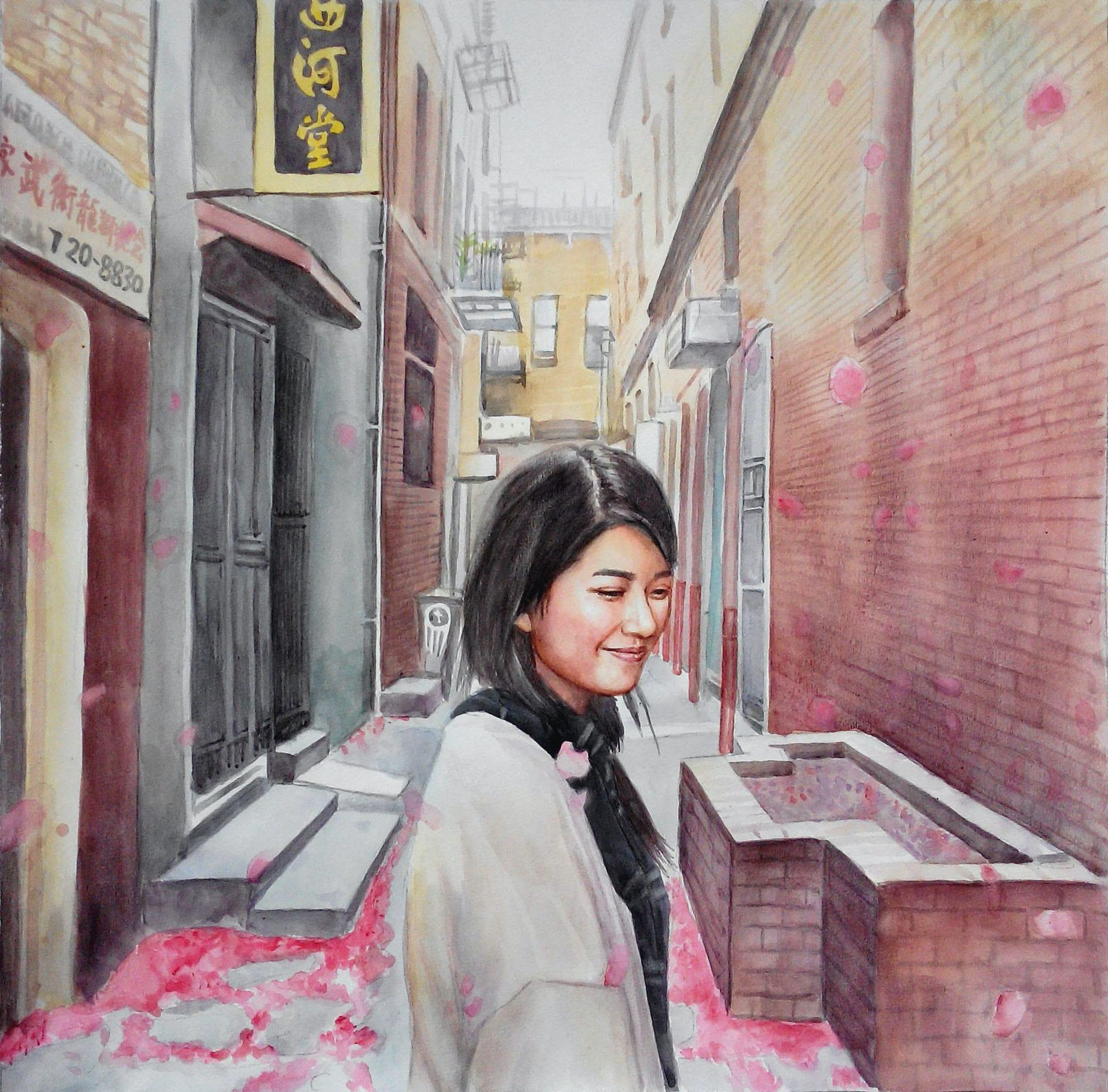 Custom Hand-Painted Girl in Chinatown Watercolor Painting