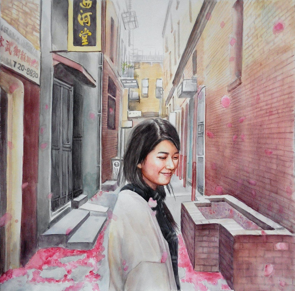 Custom Hand-Painted Girl in Chinatown Watercolor Painting Artist-Rendered Painting