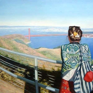 Custom Golden Gate Bridge Landscape Mixed-Media Oil Painting