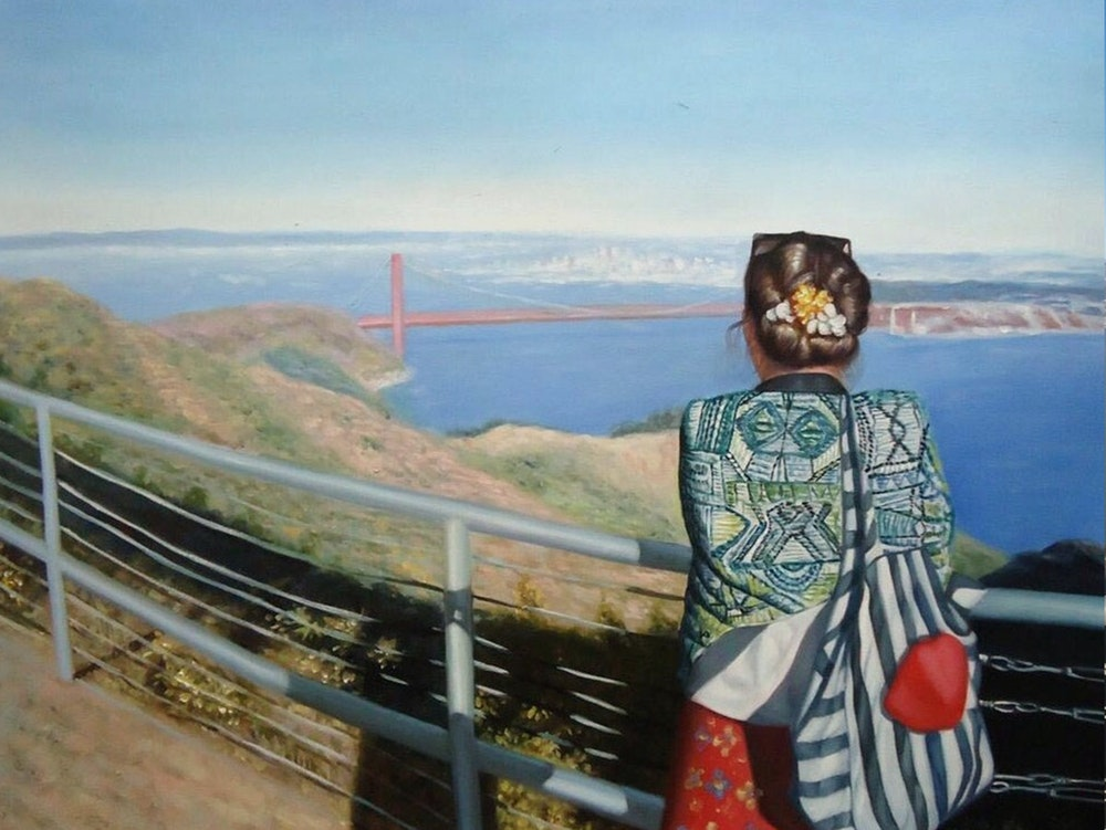 Custom Golden Gate Bridge Landscape Mixed-Media Oil Painting Artist-Rendered Painting