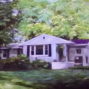 Custom Suburban House Mixed-Media Landscape Oil Painting