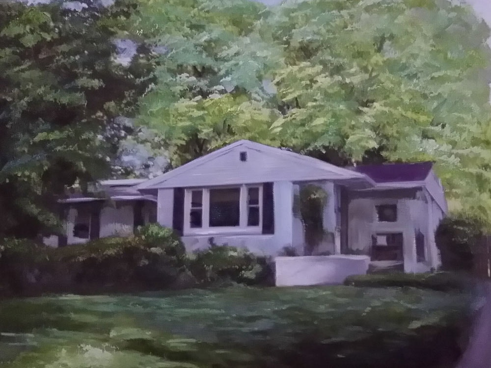 Custom Suburban House Mixed-Media Landscape Oil Painting Artist-Rendered Painting