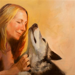 Custom Woman Scratching Dog Mixed-Media Oil Painting