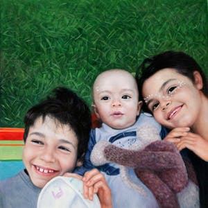 Custom Three Kids On Grass Oil Painting