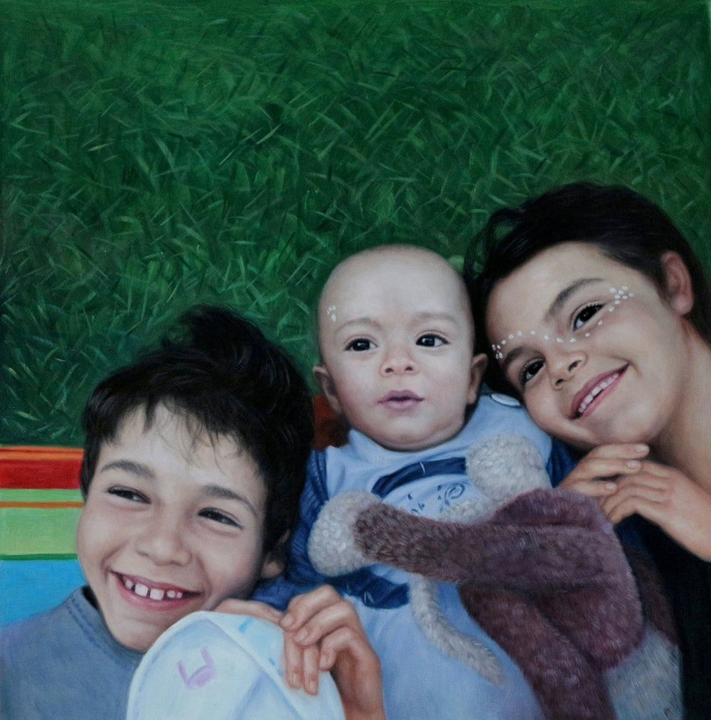 Custom Three Kids On Grass Oil Painting Artist-Rendered Painting