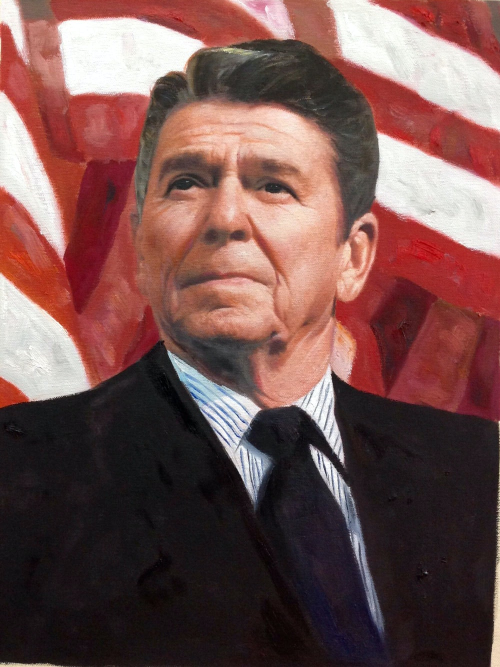Custom Ronald Reagan Mixed-Media Portrait Oil Painting Artist-Rendered Painting