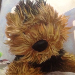 Custom Stuffed Animal Mixed-Media Portrait Oil Painting