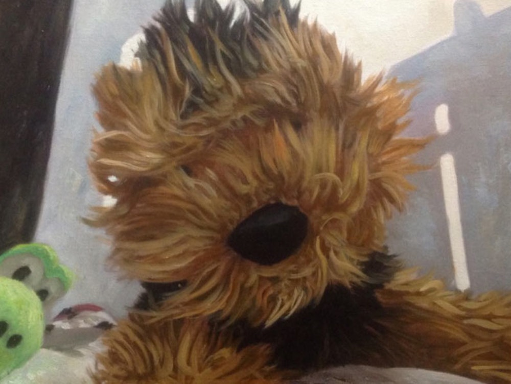 Custom Stuffed Animal Mixed-Media Portrait Oil Painting Artist-Rendered Painting